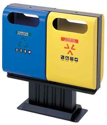 塑料瓶,铅瓶和废纸等);黄色的垃圾桶是用来收集不